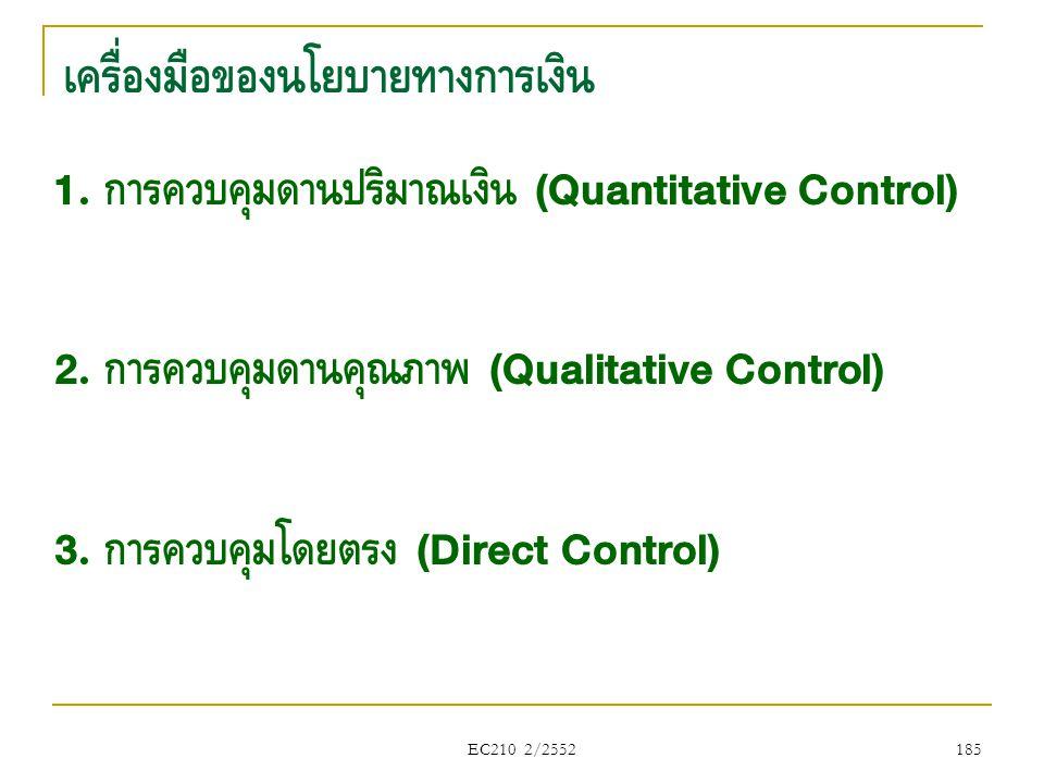 EC210 2/2552 เครื่องมือของนโยบายทางการเงิน 1. การควบคุมด้านปริมาณเงิน (Quantitative Control) 2. การควบคุมด้านคุณภาพ (Qualitative Control) 3. การควบคุม