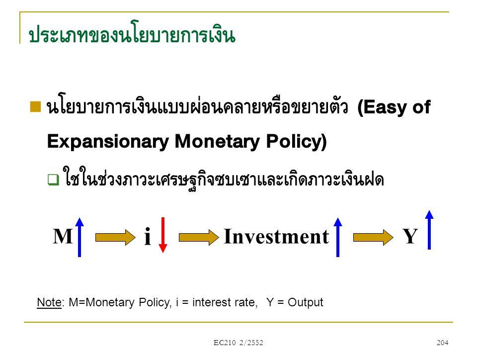 EC210 2/2552 ประเภทของนโยบายการเงิน  นโยบายการเงินแบบผ่อนคลายหรือขยายตัว (Easy of Expansionary Monetary Policy)  ใช้ในช่วงภาวะเศรษฐกิจซบเซาและเกิดภา