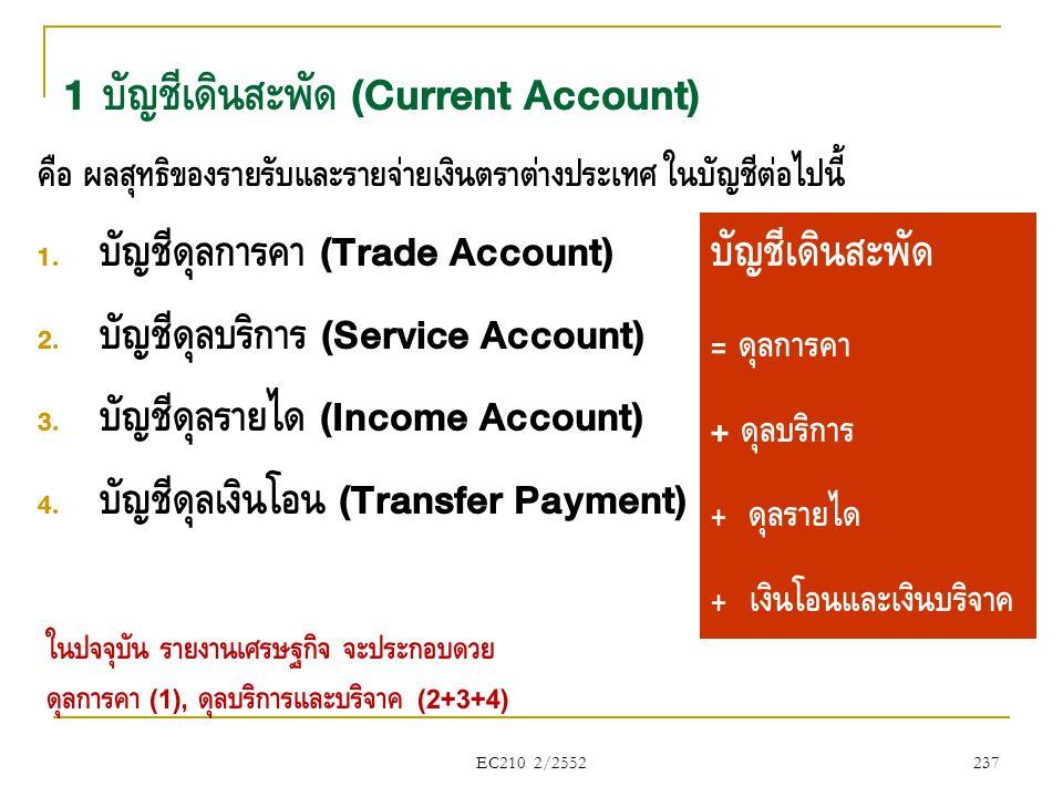 EC210 2/2552 1 บัญชีเดินสะพัด (Current Account) คือ ผลสุทธิของรายรับและรายจ่ายเงินตราต่างประเทศ ในบัญชีต่อไปนี้  บัญชีดุลการค้า (Trade Account)  บ