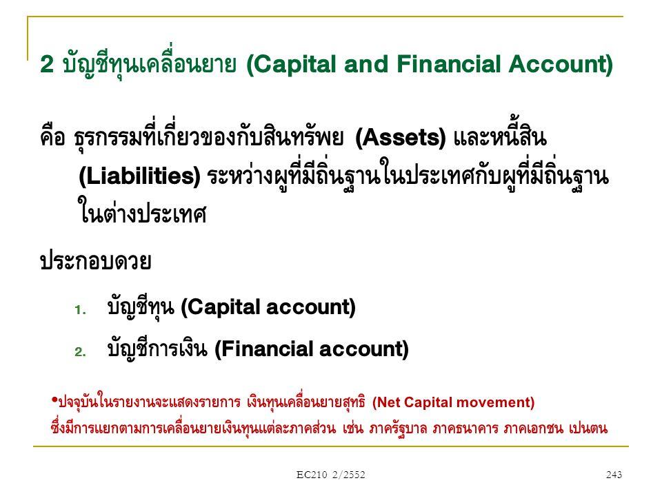 EC210 2/2552 2 บัญชีทุนเคลื่อนย้าย (Capital and Financial Account) คือ ธุรกรรมที่เกี่ยวข้องกับสินทรัพย์ (Assets) และหนี้สิน (Liabilities) ระหว่างผู้ที