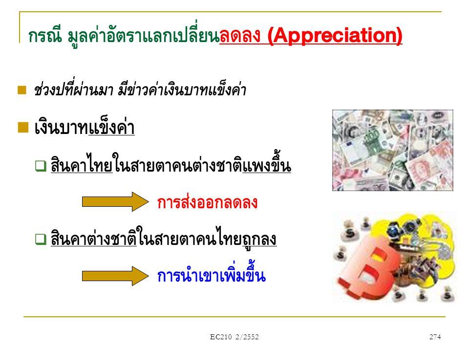 EC210 2/2552  ช่วงปีที่ผ่านมา มีข่าวค่าเงินบาทแข็งค่า  เงินบาทแข็งค่า  สินค้าไทยในสายตาคนต่างชาติแพงขึ้น การส่งออกลดลง  สินค้าต่างชาติในสายตาคนไทย