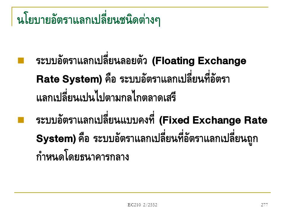 EC210 2/2552 นโยบายอัตราแลกเปลี่ยนชนิดต่างๆ  ระบบอัตราแลกเปลี่ยนลอยตัว (Floating Exchange Rate System) คือ ระบบอัตราแลกเปลี่ยนที่อัตรา แลกเปลี่ยนเป็น
