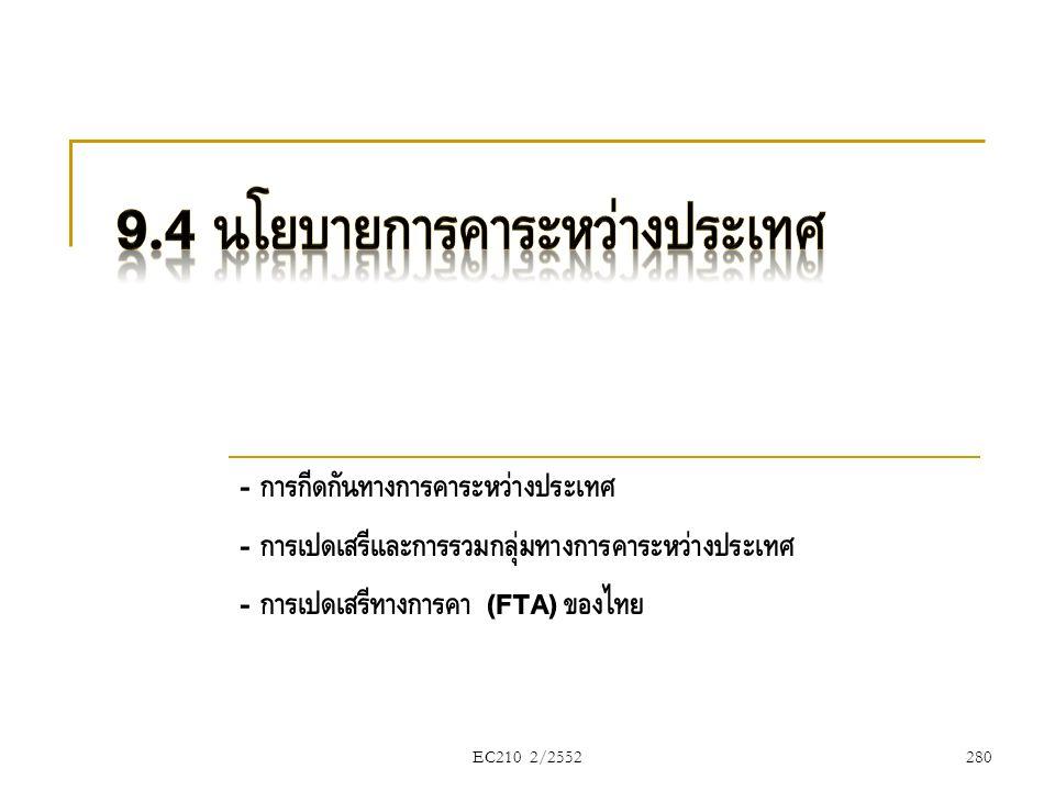EC210 2/2552 - การกีดกันทางการค้าระหว่างประเทศ - การเปิดเสรีและการรวมกลุ่มทางการค้าระหว่างประเทศ - การเปิดเสรีทางการค้า (FTA) ของไทย 280