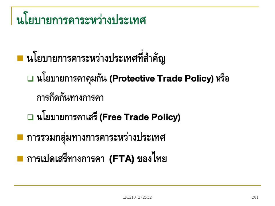 EC210 2/2552 นโยบายการค้าระหว่างประเทศ  นโยบายการค้าระหว่างประเทศที่สำคัญ  นโยบายการค้าคุ้มกัน (Protective Trade Policy) หรือ การกีดกันทางการค้า  น