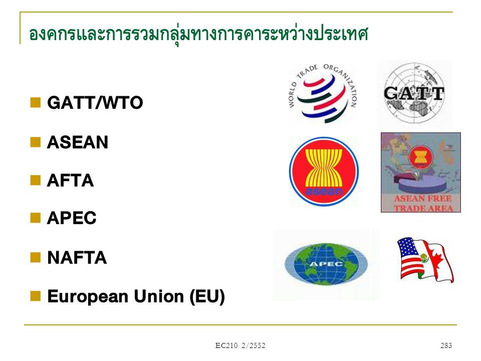 EC210 2/2552 องค์กรและการรวมกลุ่มทางการค้าระหว่างประเทศ  GATT/WTO  ASEAN  AFTA  APEC  NAFTA  European Union (EU) 283