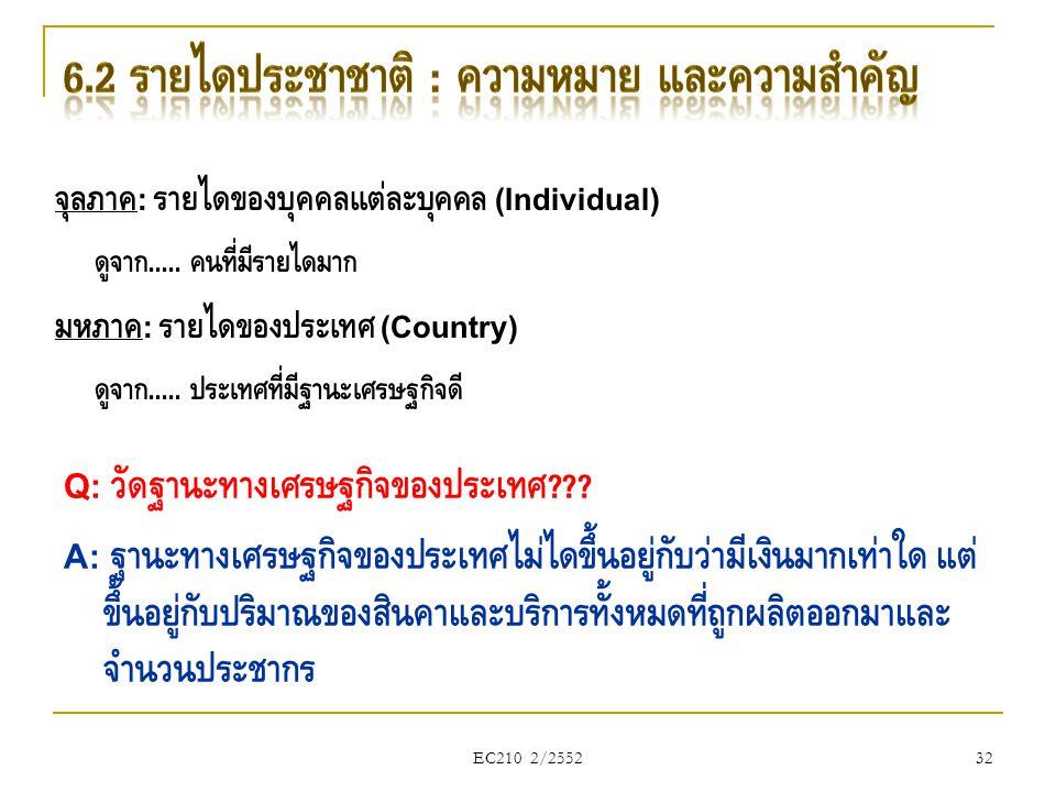 EC210 2/2552 จุลภาค : รายได้ของบุคคลแต่ละบุคคล (Individual) ดูจาก..... คนที่มีรายได้มาก มหภาค : รายได้ของประเทศ (Country) ดูจาก..... ประเทศที่มีฐานะเศ