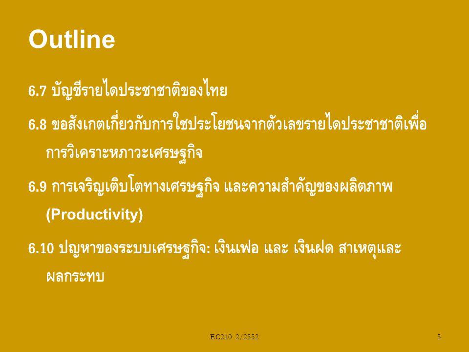 EC210 2/2552 6.7 บัญชีรายได้ประชาชาติของไทย 6.8 ข้อสังเกตเกี่ยวกับการใช้ประโยชน์จากตัวเลขรายได้ประชาชาติเพื่อ การวิเคราะห์ภาวะเศรษฐกิจ 6.9 การเจริญเติ