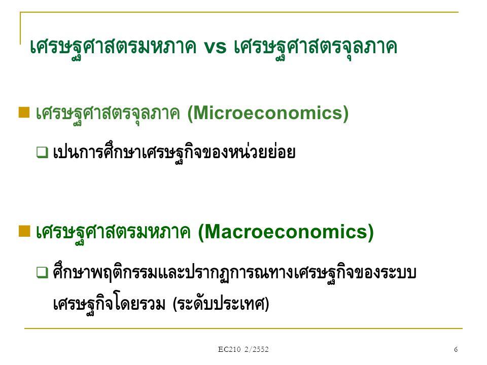 EC210 2/2552 วิชาเศรษฐศาสตร์มหภาคศึกษาเกี่ยวกับอะไร คือ เศรษฐศาสตร์ ที่ศึกษาบทบาทของระบบเศรษฐกิจส่วนรวม โดย  เน้นศึกษาวิเคราะห์ตัวแปรรวมต่างๆ เช่น รายได้ประชาชาติ, การ เจริญเติบโตทางเศรษฐกิจ, การจ้างงาน เป็นต้น  ผลของการเปลี่ยนแปลงตัวแปร หรือพฤติกรรมของหน่วยเศรษฐกิจ หรือ ภาคเศรษฐกิจต่างๆ  เป้าหมายของนโยบายเศรษฐกิจ และแนวนโยบาย ( พฤติกรรมของ ภาครัฐบาลที่มีต่อระบบเศรษฐกิจ ) 7