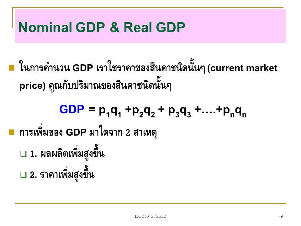Nominal GDP & Real GDP  ในการคำนวน GDP เราใช้ราคาของสินค้าชนิดนั้นๆ (current market price) คูณกับปริมาณของสินค้าชนิดนั้นๆ GDP = p 1 q 1 +p 2 q 2 + p