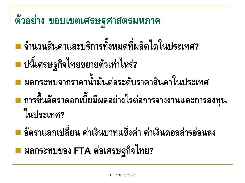 EC210 2/2552  ภาคธุรกิจ vs ภาคครัวเรือน  ภาคครัวเรือน : จ่ายเงินซื้อสินค้า (C)  ภาคธุรกิจ : จ่ายเงินจ้างปัจจัยการผลิต  รายได้ที่ภาคครัวเรือนได้รับทั้งหมดจะถูกใช้จ่ายเพื่อซื้อสินค้าและ บริการ ระบบเศรษฐกิจแบบปิด : ภาคครัวเรือน & ภาคธุรกิจ 39