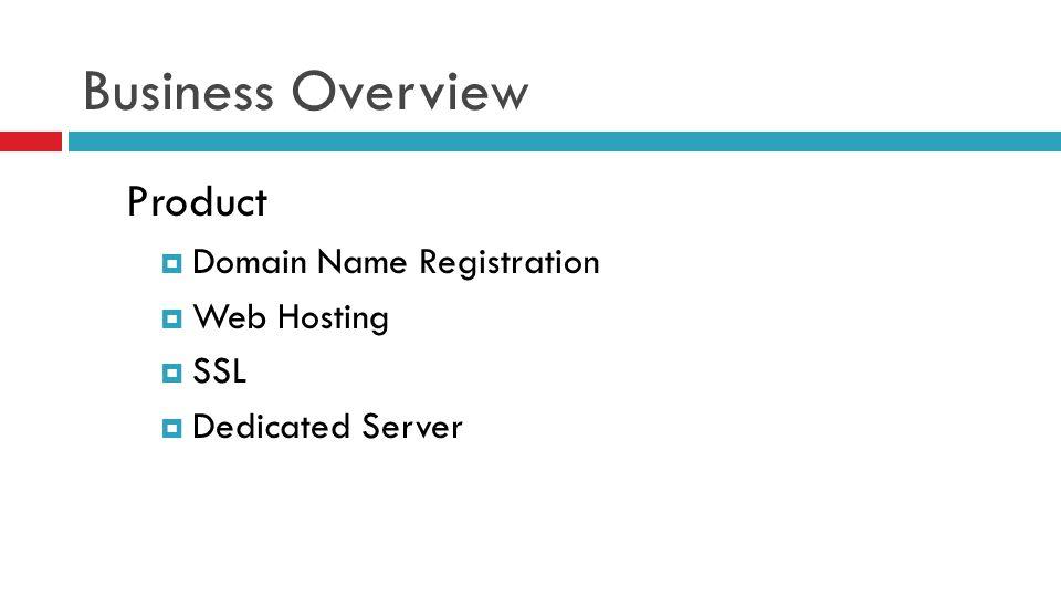 Business Overview Product  Domain Name Registration  Web Hosting  SSL  Dedicated Server