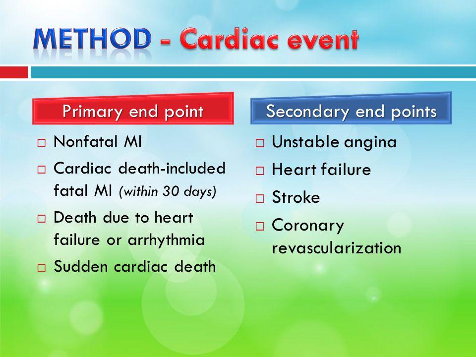 Nonfatal MI  Cardiac death-included fatal MI (within 30 days)  Death due to heart failure or arrhythmia  Sudden cardiac death  Unstable angina 