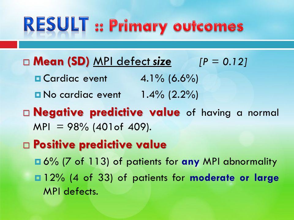  Mean (SD)  Mean (SD) MPI defect size [P = 0.12]  Cardiac event4.1% (6.6%)  No cardiac event 1.4% (2.2%)  Negative predictive value  Negative predictive value of having a normal MPI = 98% (401of 409).