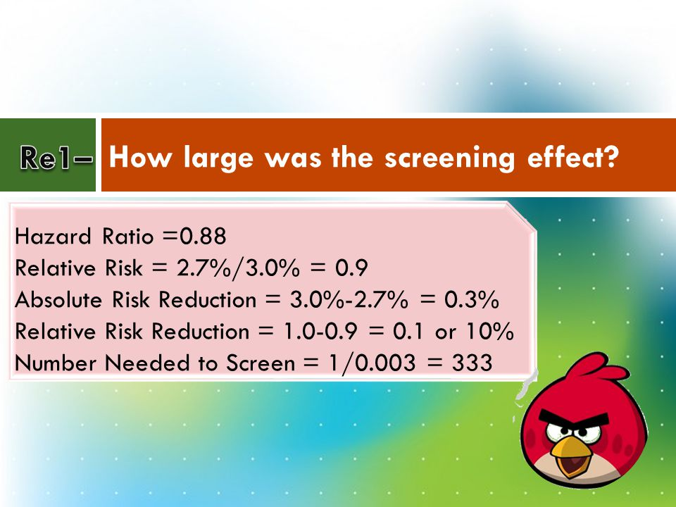 How large was the screening effect? Hazard Ratio =0.88 Relative Risk = 2.7%/3.0% = 0.9 Absolute Risk Reduction = 3.0%-2.7% = 0.3% Relative Risk Reduct