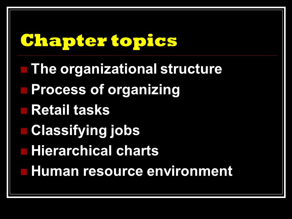 Setting up a retail organization  Identify needs of  Target market  Employee needs  Management needs
