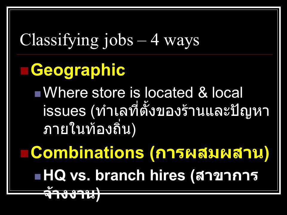 Classifying jobs – 4 ways  Geographic  Where store is located & local issues ( ทำเลที่ตั้งของร้านและปัญหา ภายในท้องถิ่น )  Combinations ( การผสมผสาน )  HQ vs.