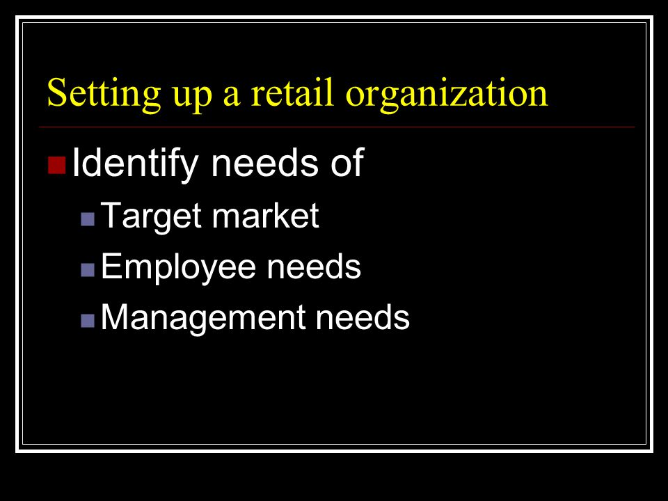 Setting up a retail organization  Identify needs of  Target market  Employee needs  Management needs