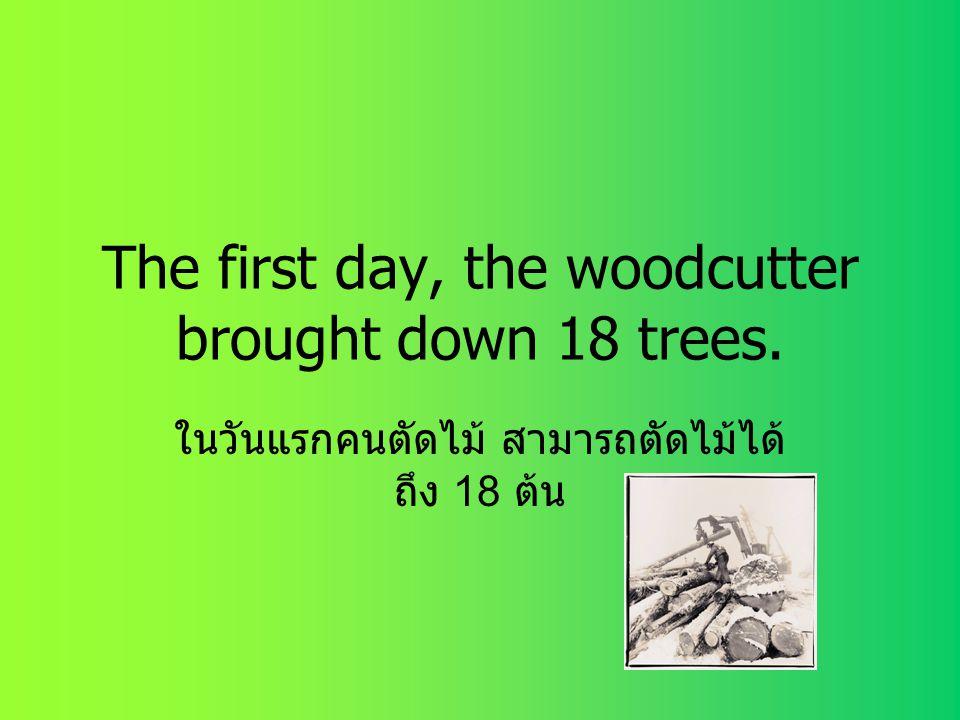 The first day, the woodcutter brought down 18 trees. ในวันแรกคนตัดไม้ สามารถตัดไม้ได้ ถึง 18 ต้น