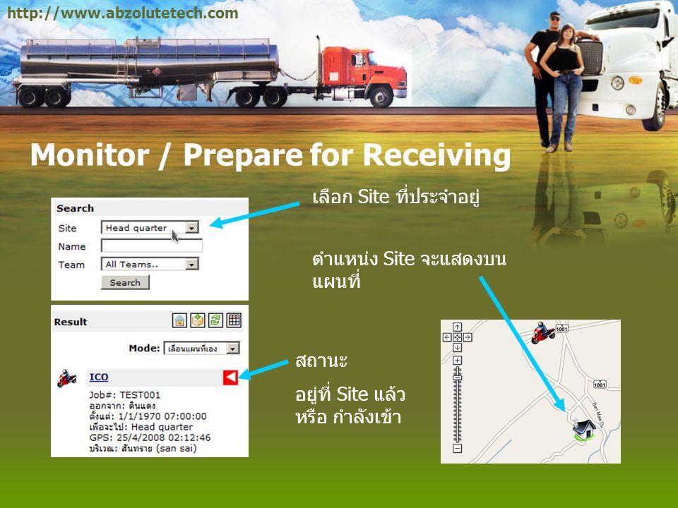 Monitor / Prepare for Receiving เลือก Site ที่ประจำอยู่ ตำแหน่ง Site จะแสดงบน แผนที่ สถานะ อยู่ที่ Site แล้ว หรือ กำลังเข้า http://www.abzolutetech.co