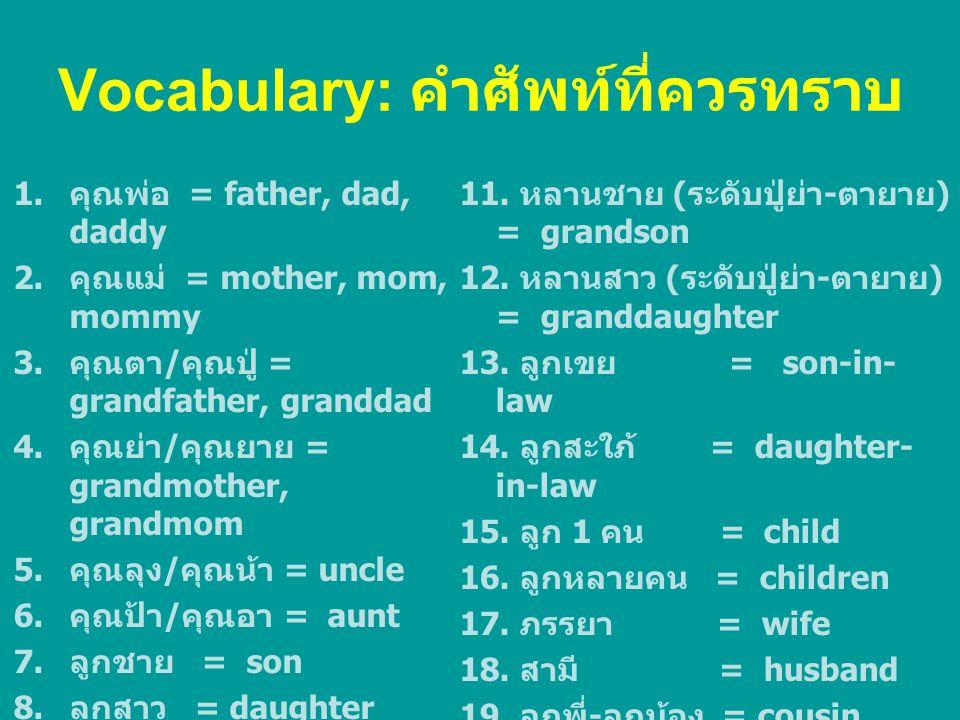 Vocabulary: คำศัพท์ที่ควรทราบ 1. คุณพ่อ = father, dad, daddy 2. คุณแม่ = mother, mom, mommy 3. คุณตา / คุณปู่ = grandfather, granddad 4. คุณย่า / คุณย