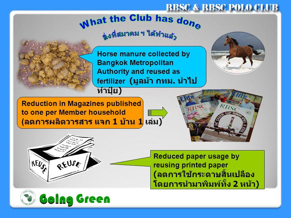 Food scraps utilized as animal food ( เศษอาหารนำไป ทำอาหารสัตว์ ) Separating toxic / non toxic materials ( แยกขยะมีพิษและไม่มี พิษ ) Separating recyclable / non recyclable items in bins ( แยกขยะทั่วไปและขยะ Recycle ) Going Going Green