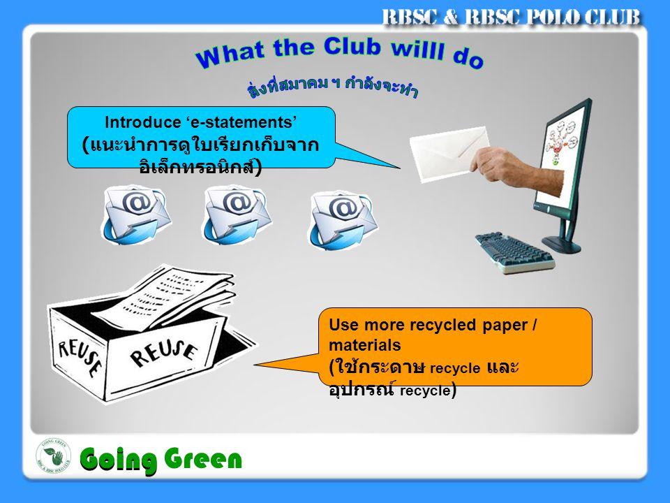 Change of plastic bags to bio-degradable type ( เปลี่ยนถุงพลาสติกเป็นชนิด ย่อยสลายได้ ) Provide alternatives to plastic bags and take-away food containers ( เสนอทางเลือกจากการใช้ ถุงพลาสติกใส่อาหารเป็นกล่อง ใส่อาหารแทน ) Going Going Green