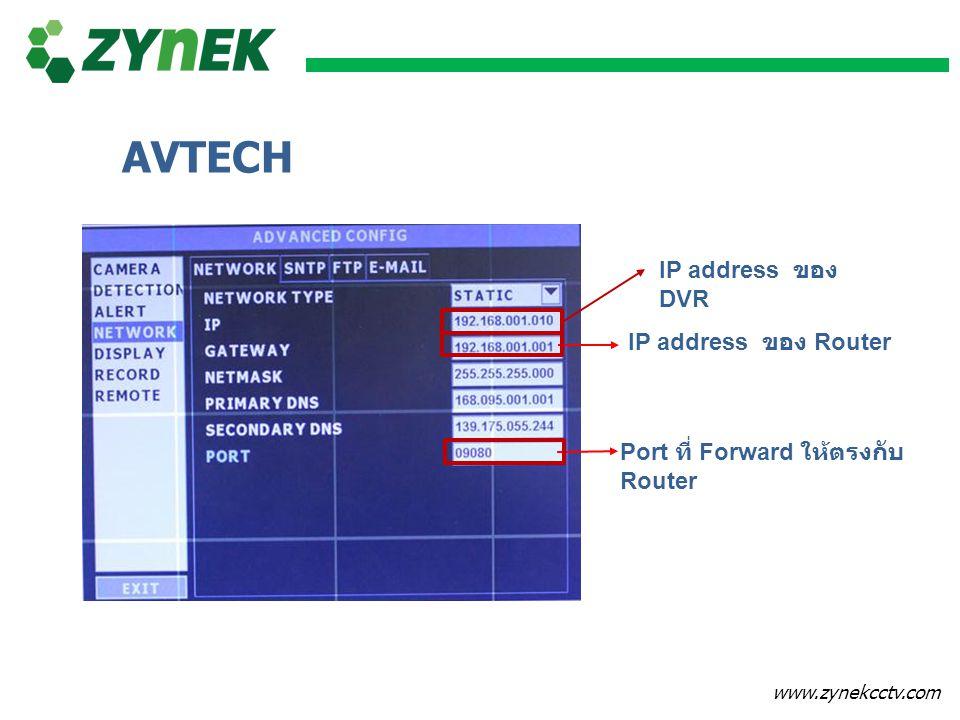www.zynekcctv.com IP address ของ DVR IP address ของ Router Port ที่ Forward ให้ตรงกับ Router AVTECH