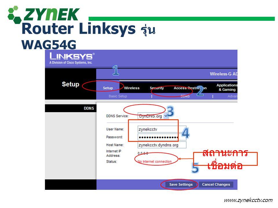 www.zynekcctv.com สถานะการ เชื่อมต่อ Router Linksys รุ่น WAG54G