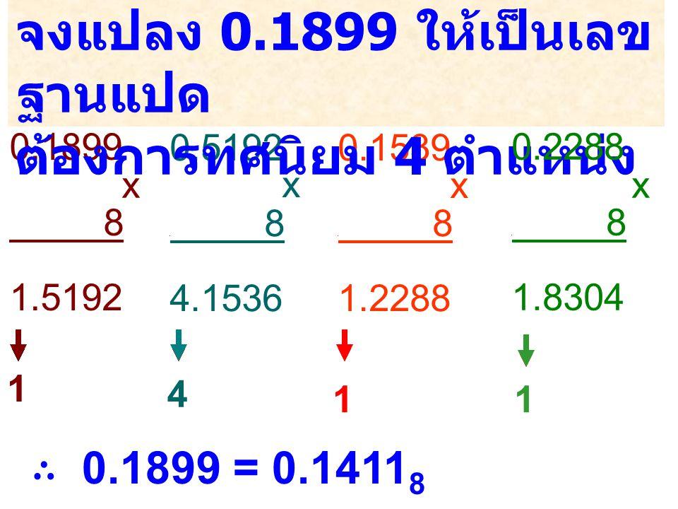 0.1899 8 1.5192 0.5192 0 8 4.1536 0.1539 0 8 1.2288 x x จงแปลง 0.1899 ให้เป็นเลข ฐานแปด ต้องการทศนิยม 4 ตำแหน่ง ∴ 0.1899 = 0.1411 8 x 0.2288 0 8 1.830