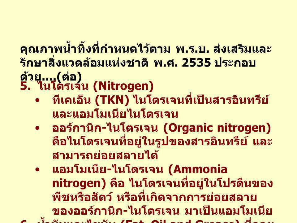 คุณภาพน้ำทิ้งที่กำหนดไว้ตาม พ. ร. บ. ส่งเสริมและ รักษาสิ่งแวดล้อมแห่งชาติ พ. ศ. 2535 ประกอบ ด้วย....( ต่อ ) 5. ไนโตรเจน (Nitrogen) • ทีเคเอ็น (TKN) ไน