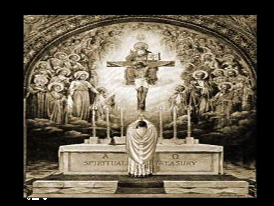 อาศัยพิธีบูชาขอบพระคุณมนุษย์ สามารถถวายเกียรติแด่พระเจ้าได้ มากกว่าบรรดาเทวดาและนักบุญ ทั้งหลายในสวรรค์ เพราะว่าการ ถวายเกียรติของเทวดาและนักบุญ เหล่านั้นเป็นการถวายเกียรติระดับ มนุษย์ แต่ในพิธีบูชาขอบพระคุณ เป็นพระเยซูเจ้าเองที่ได้ถวาย เกียรติแด่พระบิดาด้วยพระองค์ เอง ( น.