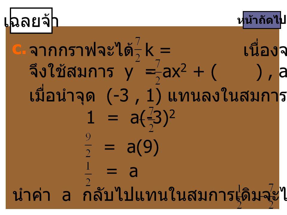 เฉลยจ้า หน้าถัดไป c. จากกราฟจะได้ k = เนื่องจากเป็นกราฟหงาย จึงใช้สมการ y = ax 2 + ( ), a > 0 เมื่อนำจุด (-3, 1) แทนลงในสมการจะได้ 1 = a(-3) 2 = a = a
