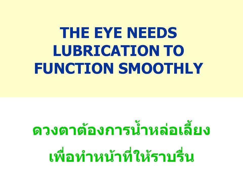 THE EYE NEEDS LUBRICATION TO FUNCTION SMOOTHLY ดวงตาต้องการน้ำหล่อเลี้ยง เพื่อทำหน้าที่ให้ราบรื่น