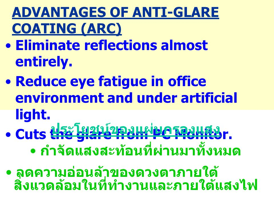 •Wear glasses with Anti- Reflection Coating while working in front of the computer.