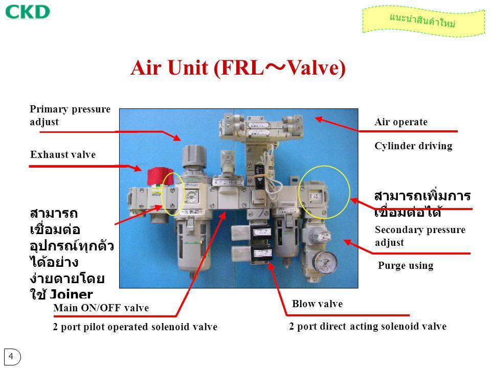Air Unit (FRL ~ Valve) 4 แนะนำสินค้าใหม่ Primary pressure adjust สามารถ เชื่อมต่อ อุปกรณ์ทุกตัว ได้อย่าง ง่ายดายโดย ใช้ Joiner Blow valve Main ON/OFF