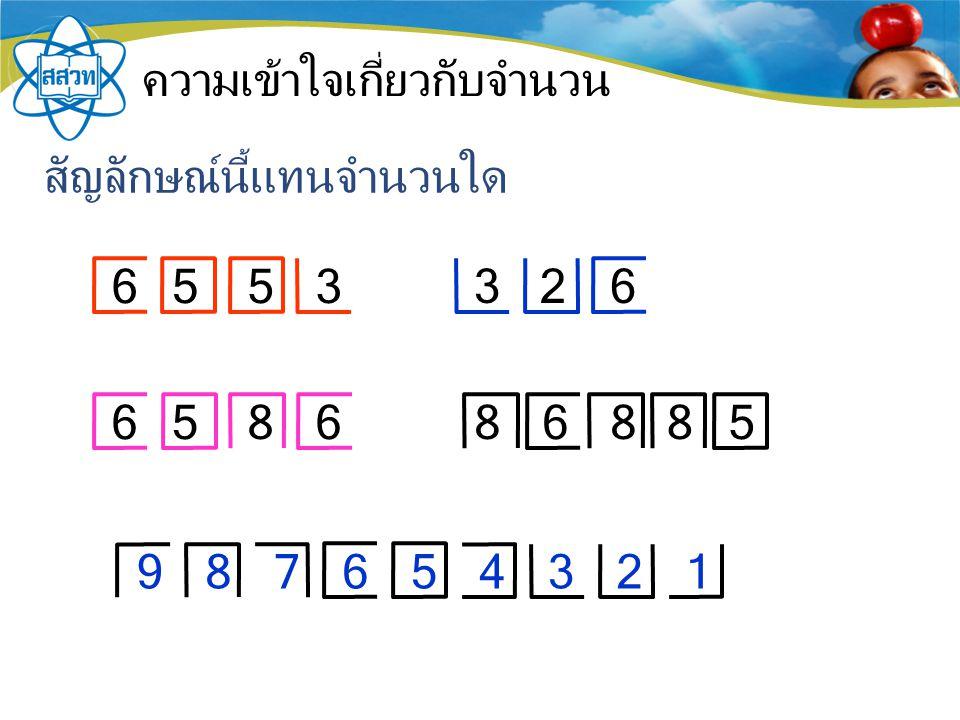 ความเข้าใจเกี่ยวกับจำนวน สัญลักษณ์นี้แทนจำนวนใด 6553 326 658686858 987654321