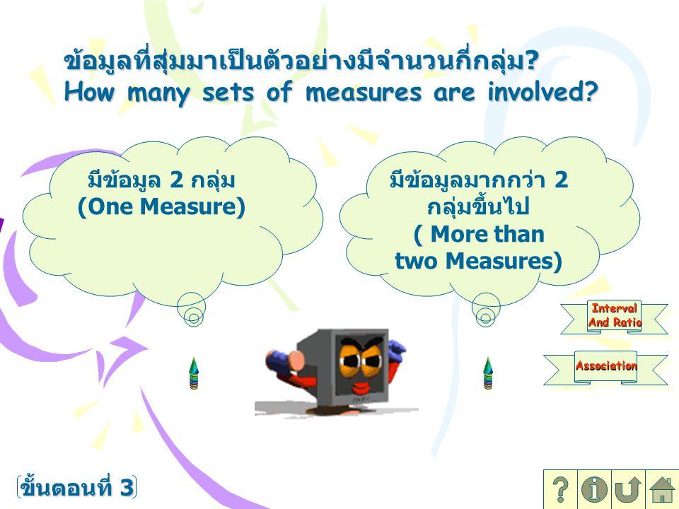 ข้อมูลที่สุ่มมาเป็นตัวอย่างมีจำนวนกี่กลุ่ม ? How many sets of measures are involved? ขั้นตอนที่ 4 Interval And Ratio Interval มีข้อมูล 2 กลุ่ม (One Me