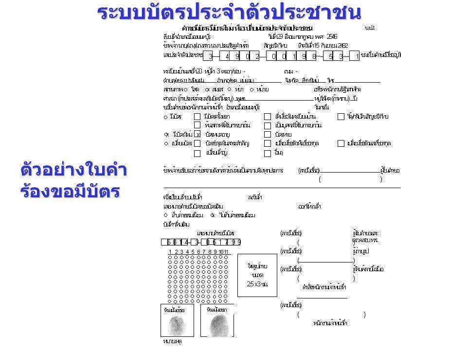 ตัวอย่างใบคำ ร้องขอมีบัตร ระบบบัตรประจำตัวประชาชน