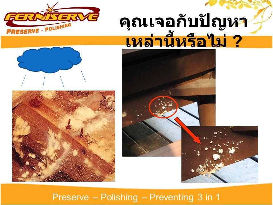 Preserve – Polishing – Preventing 3 in 1 คุณเจอกับปัญหา เหล่านี้หรือไม่ ?