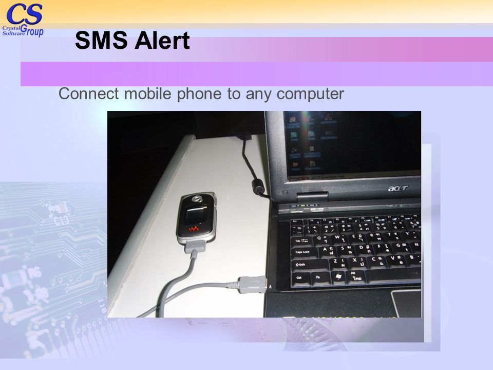 SMS Alert Connect mobile phone to any computer