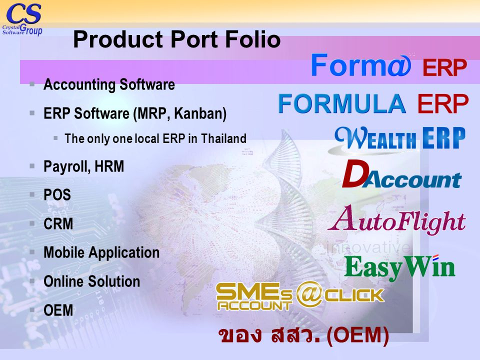 Product Port Folio  Accounting Software  ERP Software (MRP, Kanban)  The only one local ERP in Thailand  Payroll, HRM  POS  CRM  Mobile Applica