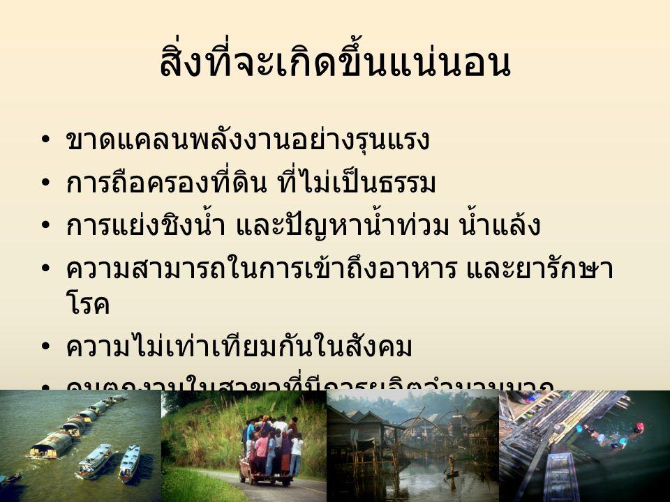 ทิศทางของโลกที่จะมีผลกระทบต่อ ประเทศไทย • ความต้องการอาหารของพลโลก เพิ่มมากขึ้น • การตื่นตัวเรื่องสภาวะโลกร้อน • การผลิตการเกษตรที่เน้นเรื่องเป็นมิตรต่อ สิ่งแวดล้อม • ระบบควบคุมคุณภาพที่เข้มข้นขึ้น • การตื่นตัวเรื่องอาหารเพื่อสุขภาพ