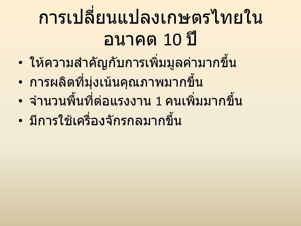 การเปลี่ยนแปลงเกษตรไทยใน อนาคต 10 ปี • ให้ความสำคัญกับการเพิ่มมูลค่ามากขึ้น • การผลิตที่มุ่งเน้นคุณภาพมากขึ้น • จำนวนพื้นที่ต่อแรงงาน 1 คนเพิ่มมากขึ้น