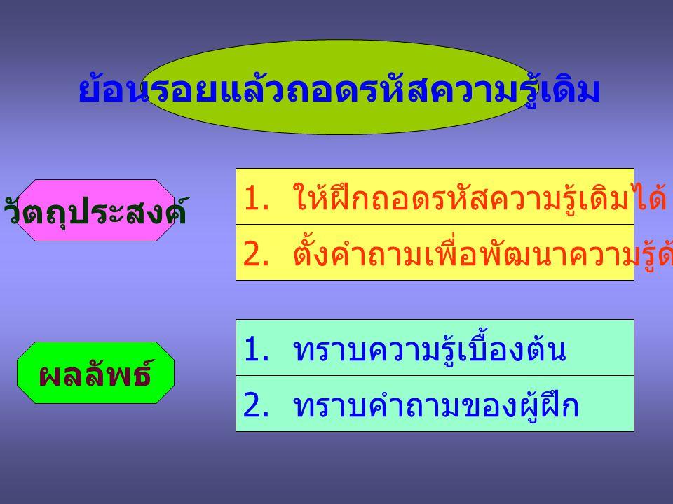 คำถามจากวิทยากร ข้อ 1 ข้อ 2 ข้อ 3 ข้อ 4 ข้อ 5 การโค้ชมีจุดมุ่งหมายอะไร .