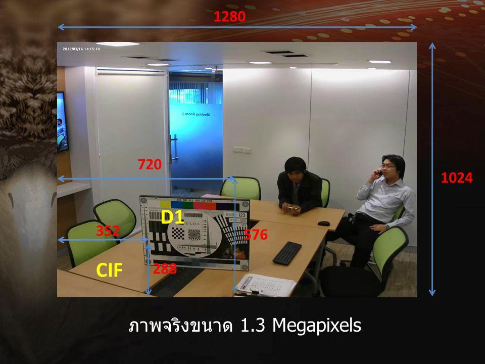 1280 1024 ภาพจริงขนาด 1.3 Megapixels 720 576 352 288 D1 CIF
