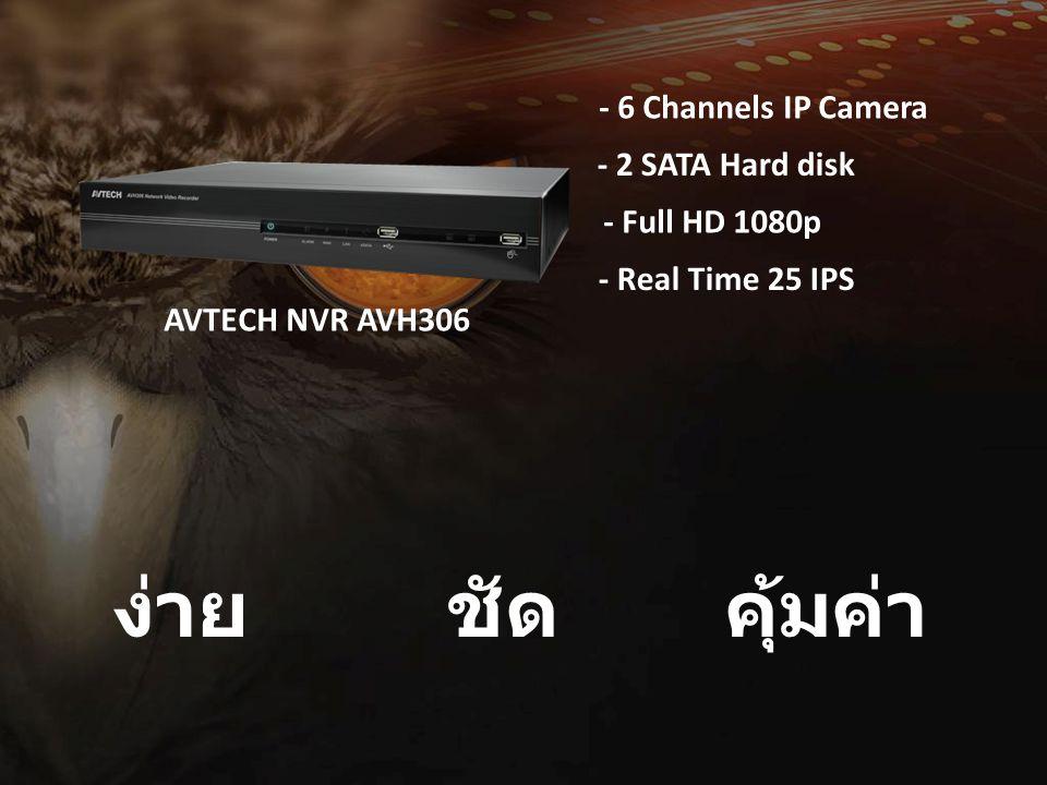 ง่ายชัด คุ้มค่า AVTECH NVR AVH306 - 6 Channels IP Camera - 2 SATA Hard disk - Full HD 1080p - Real Time 25 IPS