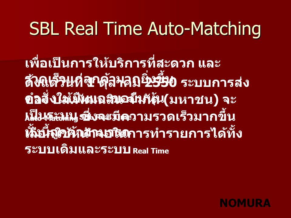 NOMURA SBL Real Time Auto Matching Screen เมื่อคลิ๊กที่ปุ่ม SBL Real time จะมี SBL Real Time Auto Matching Screen ขึ้นมา เลขที่ บัญชี รายการหุ้นที่ ได้ขอยืมไว้ แล้ว