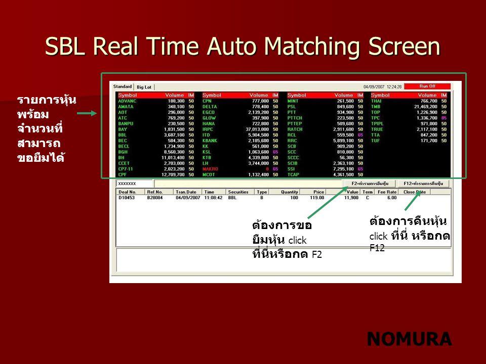 NOMURA SBL Real Time Auto Matching Screen รายการหุ้น พร้อม จำนวนที่ สามารถ ขอยืมได้ ต้องการขอ ยืมหุ้น click ที่นี่หรือกด F2 ต้องการคืนหุ้น click ที่นี
