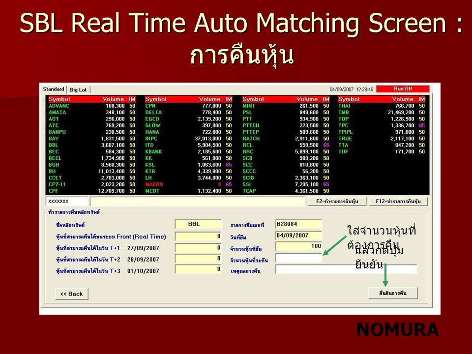 NOMURA SBL Real Time Auto Matching Screen : การคืนหุ้น ใส่จำนวนหุ้นที่ ต้องการคืน แล้วกดปุ่ม ยืนยัน