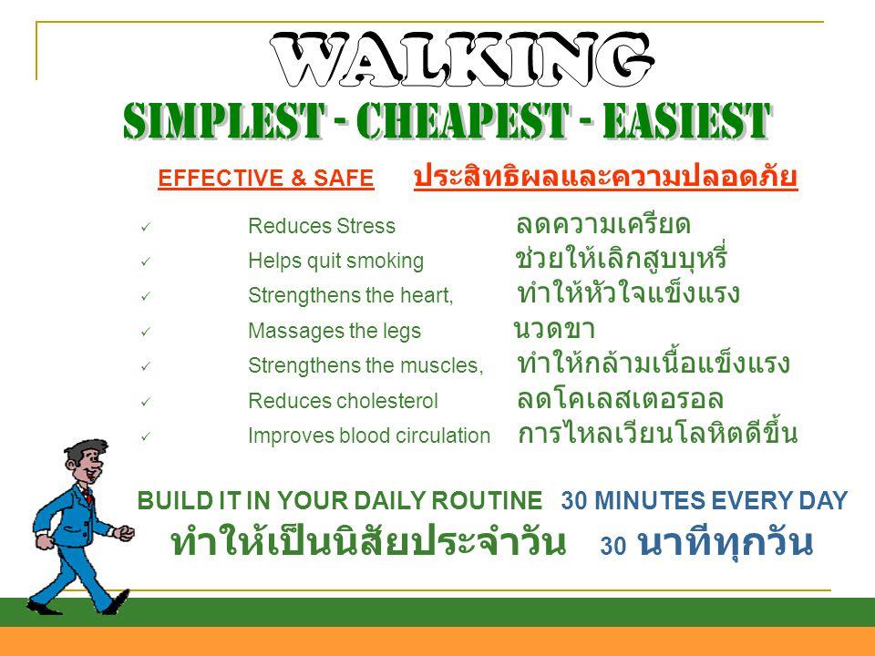 EFFECTIVE & SAFE ประสิทธิผลและความปลอดภัย  Reduces Stress ลดความเครียด  Helps quit smoking ช่วยให้เลิกสูบบุหรี่  Strengthens the heart, ทำให้หัวใจแ
